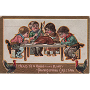 Cowboy Children Celebrating Thanksgiving at Table Vintage Thanksgiving Postcard