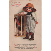 Unsigned Clapsaddle Young Boy with a Turkey Crate Vintage Thanksgiving Postcard