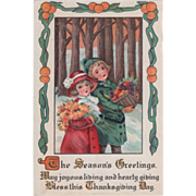 Girl and Boy Carrying Harvest Bounty through Woods Vintage Thanksgiving Postcard
