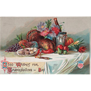 Table with Flowers and Various Harvest Bounty Vintage Thanksgiving Postcard