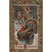 Hunter Opossum in a Tree Turkey Gobbler Gold Vintage Thanksgiving Postcard