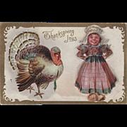 Little Girl in Dutch Dress Turkey Gobbler Vintage Thanksgiving Postcard