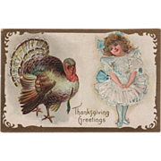 Little Girl in Blue and White Dress Turkey Gobbler Vintage Thanksgiving Postcard