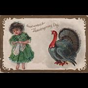 Little Girl in Tartan Dress Turkey Gobbler Vintage Thanksgiving Postcard