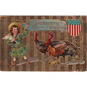 Little Girl with a Turkey Gobbler Hen and Chick Vintage Thanksgiving Postcard