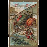 Turkey Gobbler with Fruit on Biplane Wing Vintage Thanksgiving Postcard