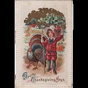 Turkey Gobbler Boy with Hoe and Basket of Fruit Vintage Thanksgiving Postcard