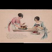 Two Women Preparing Thanksgiving Meal Vintage Thanksgiving Postcard