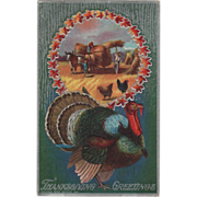 Turkey Gobbler Ox Team Pulling Load Wheat Shocks Vintage Thanksgiving Postcard