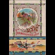 Framed Autumn Scene Group of Turkeys Leaves Vintage Thanksgiving Postcard