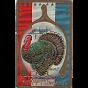 Very Large Turkey Gobbler Framed in a Wishbone Vintage Thanksgiving Postcard