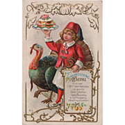 Boy in a Fez Holding a Cake beside Turkey Gobbler Vintage Thanksgiving Postcard