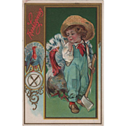 Boy with an Axe Standing beside Turkey Gobbler Vintage Thanksgiving Postcard