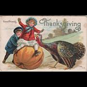 Two Children Large Pumpkin and a Turkey Gobbler Vintage Thanksgiving Postcard