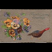 Bouquet of Pansies Squawking Turkey Hen Vintage Thanksgiving Postcard
