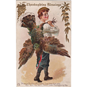 Young Man Carrying a Turkey Gobbler on His Back Vintage Thanksgiving Postcard