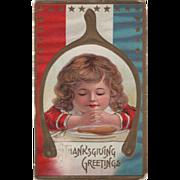 Child Praying Framed in a Wishbone Vintage Thanksgiving Postcard
