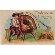 Boy with a Turkey Gobbler Axe in a Stump Vintage Thanksgiving Postcard
