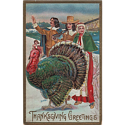 People from Mayflower Very Large Turkey Gobbler Vintage Thanksgiving Postcard