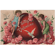 Pink Roses Lovebirds Cupids Very Large Red Heart Vintage Valentine Postcard