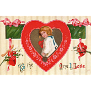Young Child Framed in a Pink and Red Heart Vintage Valentine Postcard