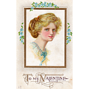 Young Woman in Rectangular Frame with Blue Flowers Vintage Valentine Postcard