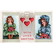 Two Little Girls with Red Flowers Red Hearts Vintage Valentine Postcard