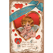 Cupid with an Arrow Framed in a Red and Gold Heart Vintage Valentine Postcard