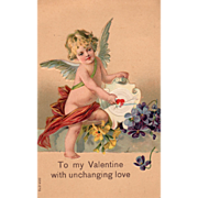 Cupid Pierced Arrow Target Violets Yellow Flowers Vintage Valentine Postcard
