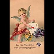 Cupid Pierced Arrow Target Violets Yellow Flowers Vintage Valentine Postcard