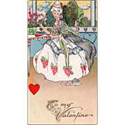Elegant Lady in a White Dress Writing Valentines Vintage Valentine Postcard