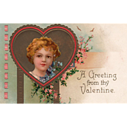 Girl Framed in Dark and Red Heart Blue Pink Flowers Vintage Valentine Postcard