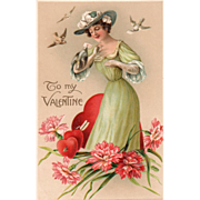 Lady in Green Receiving a Valentine from the Birds Vintage Valentine Postcard
