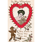 Woman with Roses in Heart of Red Hearts Gold Arrows Vintage Valentine Postcard
