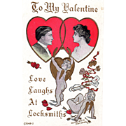 Two Cupids One Locking Hearts of a Man and Woman Vintage Valentine Postcard