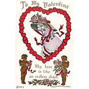 Woman with Roses on Hat Framed in Heart of Red Hearts Vintage Valentine Postcard