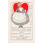 Whitney Young Woman with a Steaming Pie Vintage Valentine Postcard