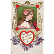 Girl in Pink with Pink Rose behind Ear Violets Vintage Valentine Postcard