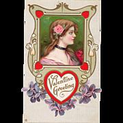 Girl in Pink with Pink Rose behind Ear Violets Vintage Valentine Postcard