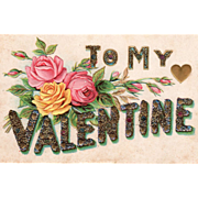 To My Valentine Yellow and Pink Roses Vintage Valentine Postcard