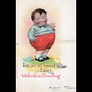 Die Cut Fat Boy Standing in the Grass Vintage Valentine Card