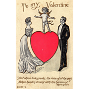 Well Dressed Couple with Cupid Standing on Red Heart Vintage Valentine Postcard