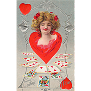 Woman in Red Red Hearts Playing Cards Silver Arbor Vintage Valentine Postcard