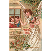 Angel with Toys and Children at a Window Vintage Christmas Postcard