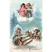 Two Little Angels Singing on a Cloud over a Stairway Vintage Christmas Postcard