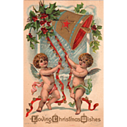 Two Little Angels Ringing Large Bell Red Ribbons Vintage Christmas Postcard