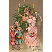 SOLD Angel In Pink Lighting Tree Candles Two Little Girls Vintage Christmas Postcard - Red Tag