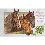SOLD Three Horses at a Board Fence Sprig of Holly Vintage Christmas Postcard - Red Tag Sale It