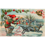 SOLD Boy on Ice Skates with Trumpet Pulled by a Black Dog Vintage Christmas Postcard