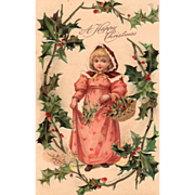 Little Girl in a Pink Dress with Mistletoe and Holly Vintage Christmas Postcard